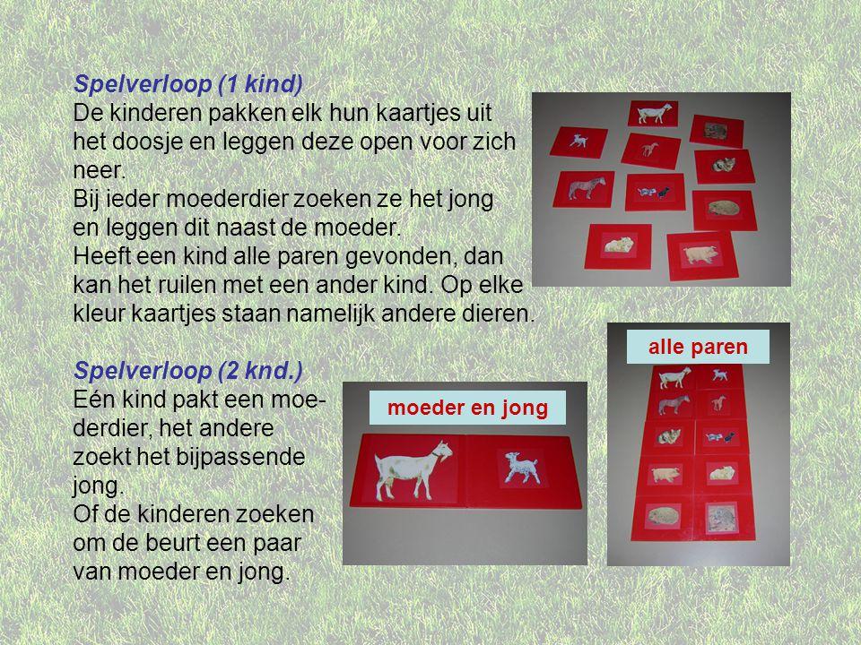 Spelverloop (1 kind) De kinderen pakken elk hun kaartjes uit het doosje en leggen deze open voor zich neer. Bij ieder moederdier zoeken ze het jong en