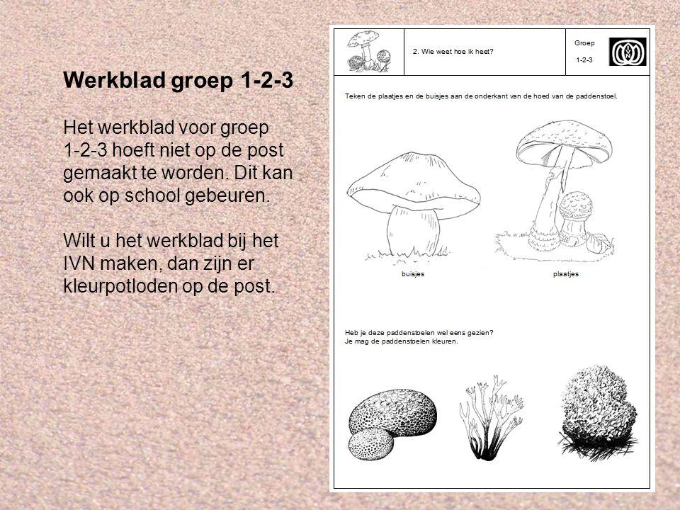 Werkblad groep 1-2-3 Het werkblad voor groep 1-2-3 hoeft niet op de post gemaakt te worden. Dit kan ook op school gebeuren. Wilt u het werkblad bij he