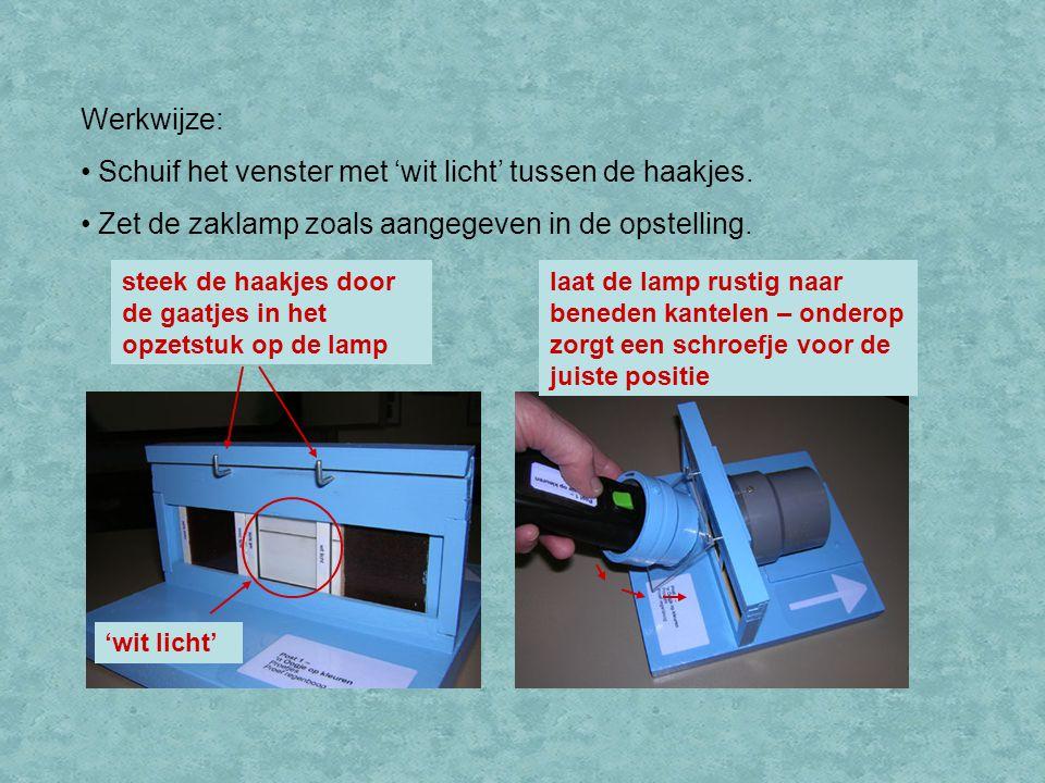 Werkwijze: Schuif het venster met 'wit licht' tussen de haakjes. Zet de zaklamp zoals aangegeven in de opstelling. steek de haakjes door de gaatjes in
