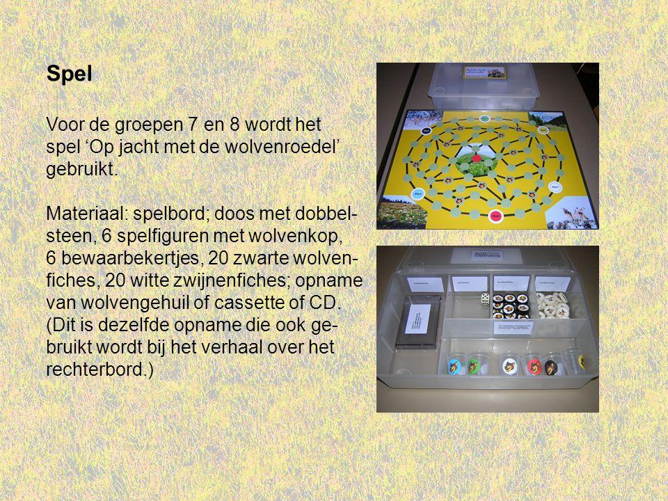 Spel Voor de groepen 7 en 8 wordt het spel 'Op jacht met de wolvenroedel' gebruikt. Materiaal: spelbord; doos met dobbel- steen, 6 spelfiguren met wol