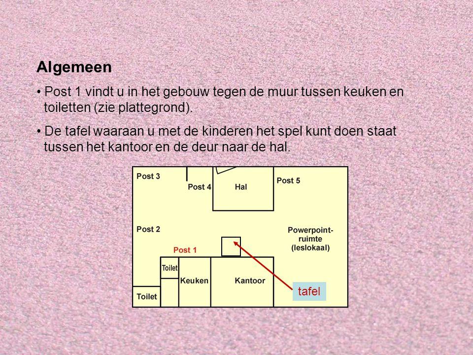 Algemeen Post 1 vindt u in het gebouw tegen de muur tussen keuken en toiletten (zie plattegrond). De tafel waaraan u met de kinderen het spel kunt doe