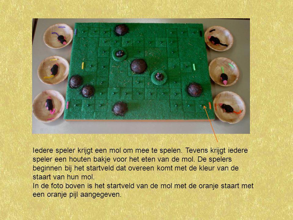 Iedere speler krijgt een mol om mee te spelen. Tevens krijgt iedere speler een houten bakje voor het eten van de mol. De spelers beginnen bij het star
