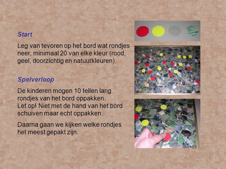 Start Leg van tevoren op het bord wat rondjes neer, minimaal 20 van elke kleur (rood, geel, doorzichtig en natuurkleuren). Spelverloop De kinderen mog