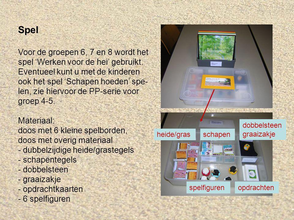 Spel Voor de groepen 6, 7 en 8 wordt het spel 'Werken voor de hei' gebruikt. Eventueel kunt u met de kinderen ook het spel 'Schapen hoeden' spe- len,