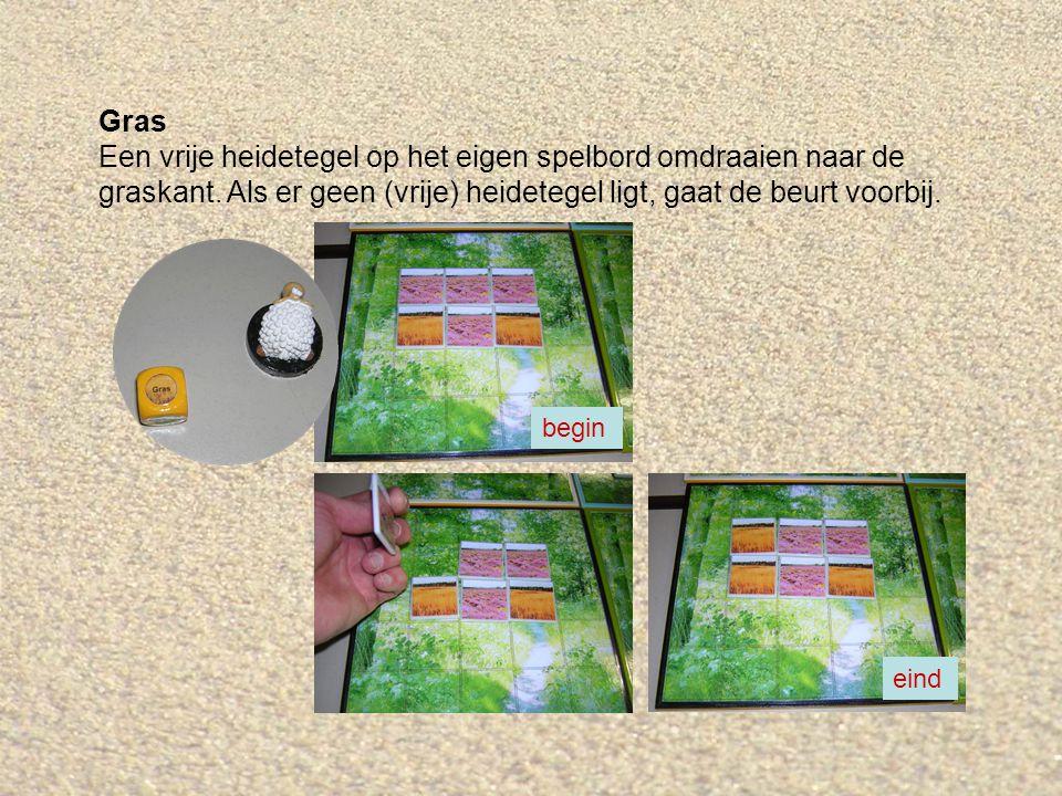 Gras Een vrije heidetegel op het eigen spelbord omdraaien naar de graskant. Als er geen (vrije) heidetegel ligt, gaat de beurt voorbij. begin eind
