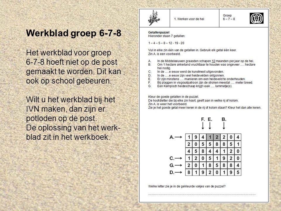 Werkblad groep 6-7-8 Het werkblad voor groep 6-7-8 hoeft niet op de post gemaakt te worden.