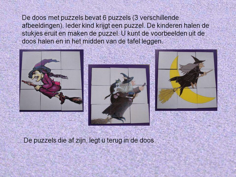 De doos met puzzels bevat 6 puzzels (3 verschillende afbeeldingen).