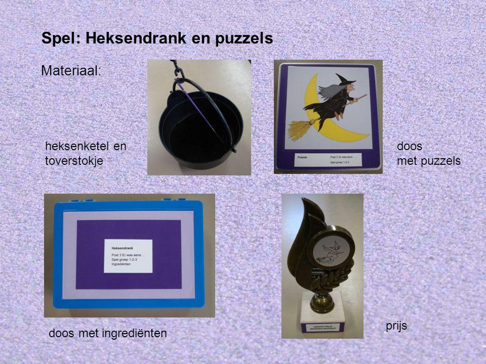 Materiaal: Spel: Heksendrank en puzzels prijs doos met puzzels heksenketel en toverstokje doos met ingrediënten