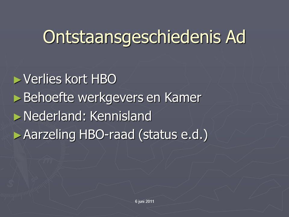 6 juni 2011 Ontstaansgeschiedenis Ad ► Verlies kort HBO ► Behoefte werkgevers en Kamer ► Nederland: Kennisland ► Aarzeling HBO-raad (status e.d.)