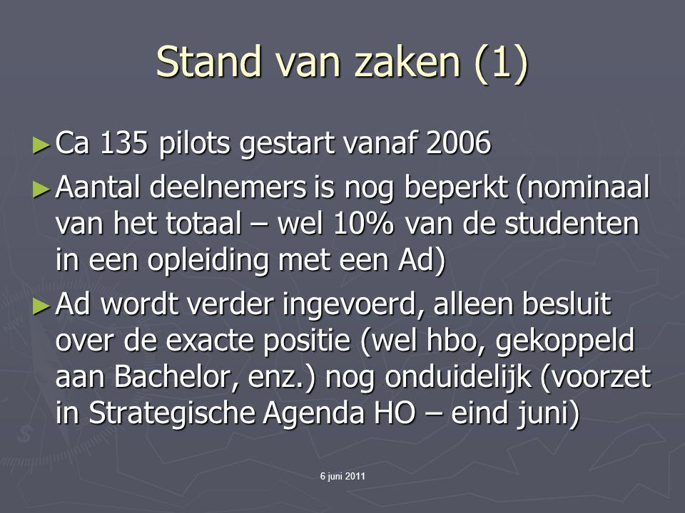 6 juni 2011 Stand van zaken (1) ► Ca 135 pilots gestart vanaf 2006 ► Aantal deelnemers is nog beperkt (nominaal van het totaal – wel 10% van de studen