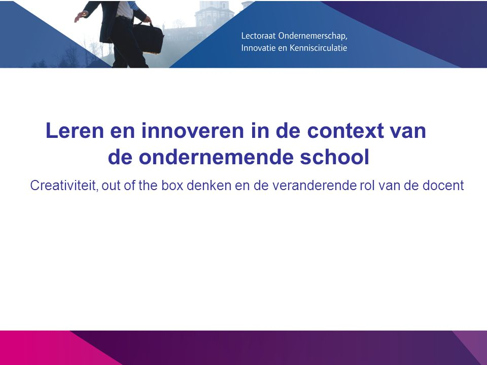 Creativiteit, out of the box denken en de veranderende rol van de docent Leren en innoveren in de context van de ondernemende school