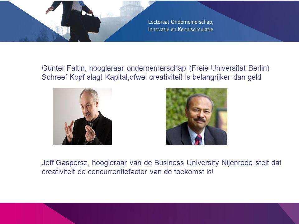 Günter Faltin, hoogleraar ondernemerschap (Freie Universität Berlin) Schreef Kopf slägt Kapital,ofwel creativiteit is belangrijker dan geld Jeff Gaspe