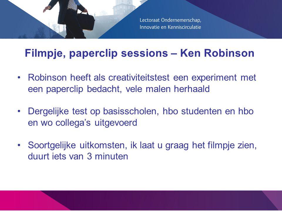 Filmpje, paperclip sessions – Ken Robinson Robinson heeft als creativiteitstest een experiment met een paperclip bedacht, vele malen herhaald Dergelij