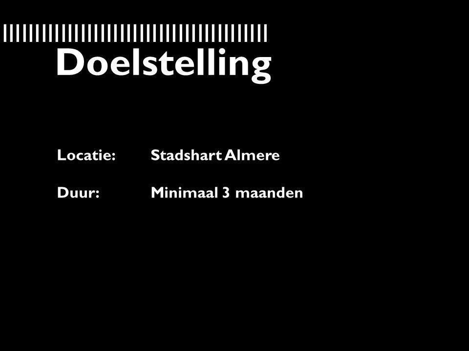 IIIIIIIIIIIIIIIIIIIIIIIIIIIIIIIIIIIIIIIIIIIIIIIIIIIIIIIIIIII Doelstelling Locatie: Stadshart Almere Duur:Minimaal 3 maanden