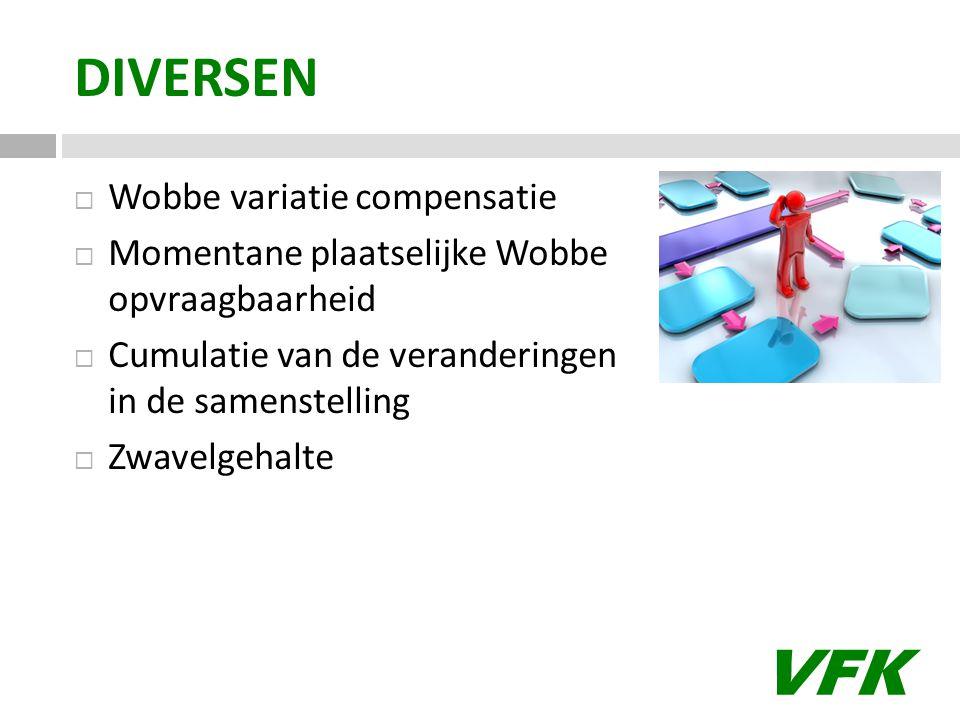 VFK DIVERSEN  Wobbe variatie compensatie  Momentane plaatselijke Wobbe opvraagbaarheid  Cumulatie van de veranderingen in de samenstelling  Zwavelgehalte