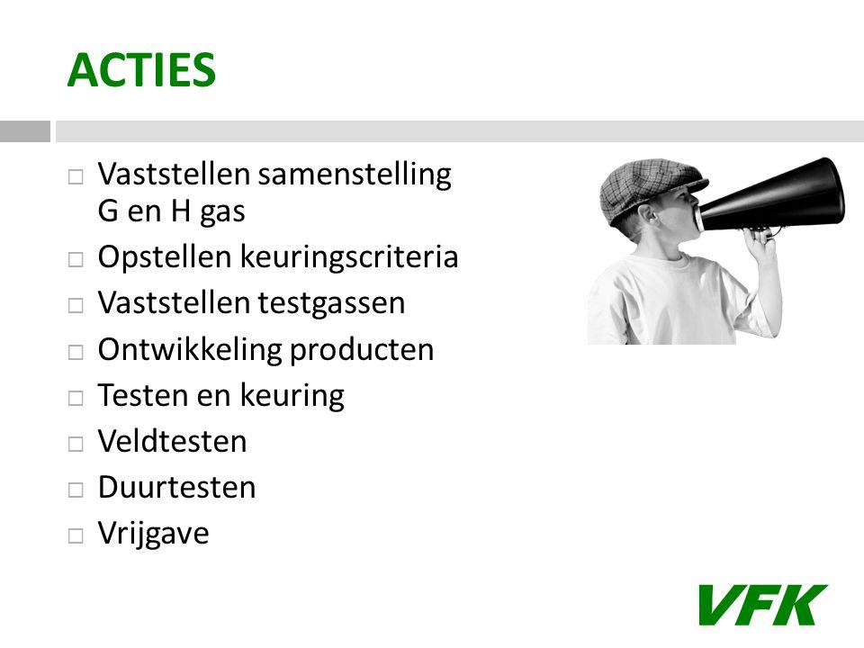 VFK ACTIES  Vaststellen samenstelling G en H gas  Opstellen keuringscriteria  Vaststellen testgassen  Ontwikkeling producten  Testen en keuring 