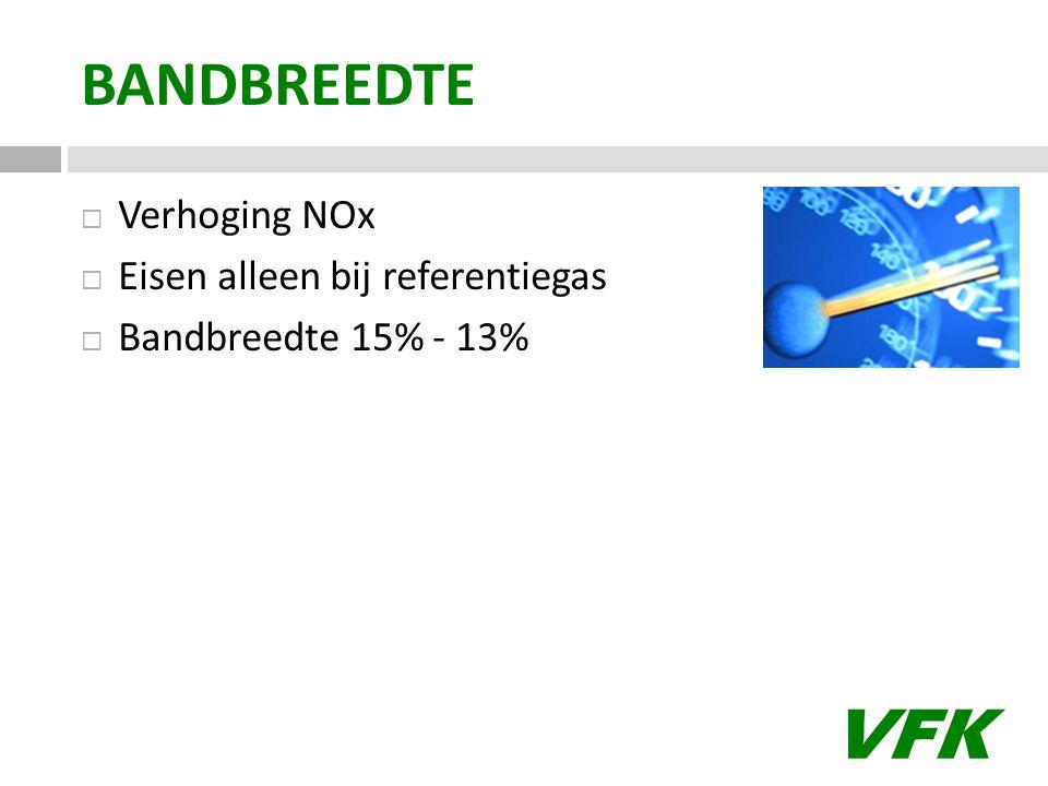 VFK BANDBREEDTE  Verhoging NOx  Eisen alleen bij referentiegas  Bandbreedte 15% - 13%