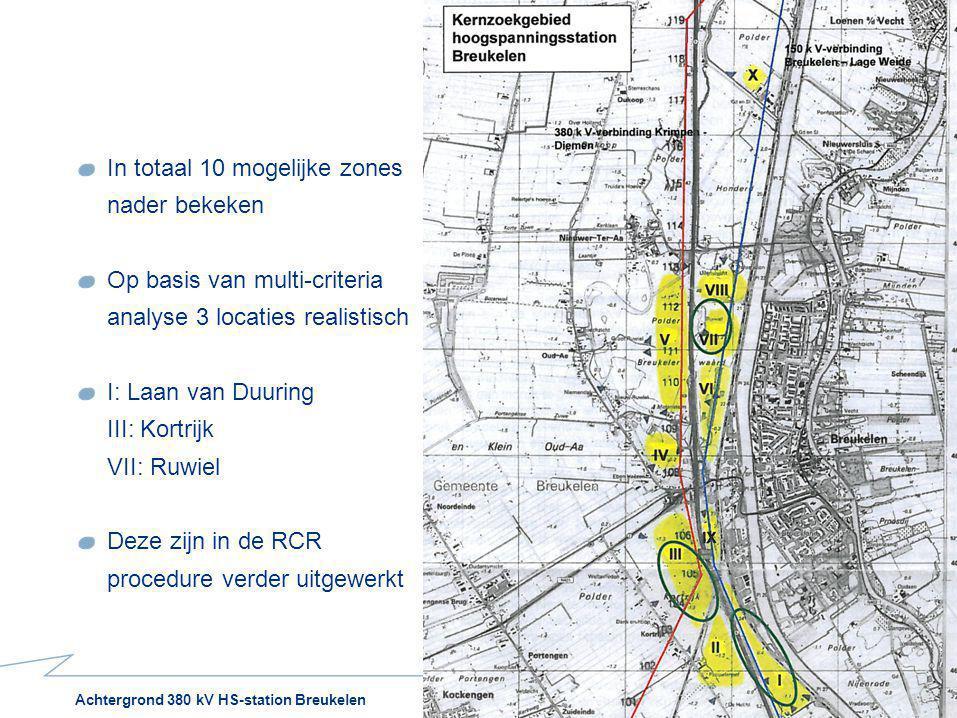 Achtergrond 380 kV HS-station Breukelen31 oktober 2012 In totaal 10 mogelijke zones nader bekeken Op basis van multi-criteria analyse 3 locaties reali