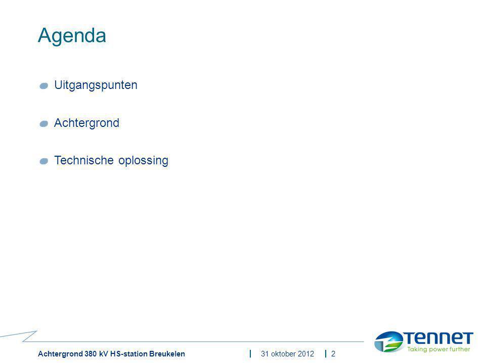 Achtergrond 380 kV HS-station Breukelen31 oktober 2012 Uitgangspunten Veilig en betrouwbaar de afnemers en de producenten bij elkaar brengen (vraag en aanbod in balans brengen) ̵ Elektriciteit kunnen we nog niet opslaan, dit moet dus 24/7 gebeuren ̵ Eisen en verplichtingen vanuit E-wet / Codes respecteren ̵ Maatschappelijk laagste kosten over de levensduur Gebruik maken van het 380kV-netwerk (de backbone ), het 150kV-netwerk, de huidige klanten en de prognoses voor komende jaren.