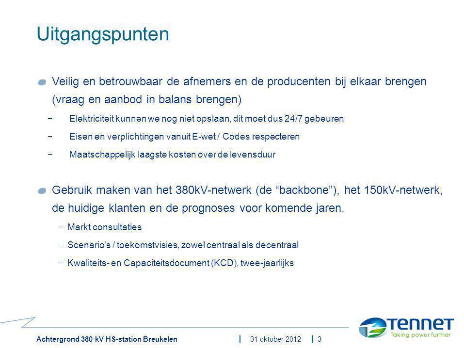 Achtergrond 380 kV HS-station Breukelen31 oktober 2012 Uitgangspunten Veilig en betrouwbaar de afnemers en de producenten bij elkaar brengen (vraag en
