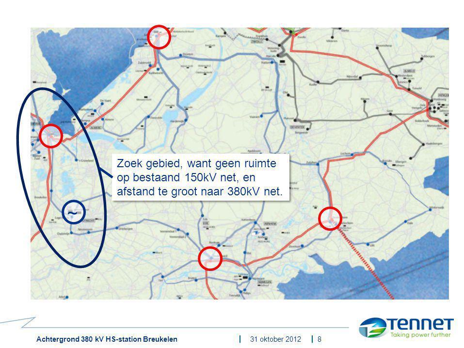 Achtergrond 380 kV HS-station Breukelen31 oktober 2012 Oplossing regio Utrecht 9 ~ Nieuwe invoeding nodig om de vraag te kunnen voorzien, liefst zo dicht bij verlies van de productie en groei van belasting Nieuwe invoeding nodig om de vraag te kunnen voorzien, liefst zo dicht bij verlies van de productie en groei van belasting 94 gevoelige bestemmingen 12 gevoelige bestemmingen 0 gevoelige bestemmingen 1 station met 5 transformatoren te groot 2 stations maken, gelijk aan optie Breukelen