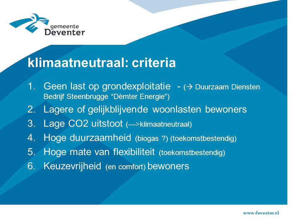 klimaatneutraal: criteria 1.Geen last op grondexploitatie - (  Duurzaam Diensten Bedrijf Steenbrugge Dèmter Energie ) 2.Lagere of gelijkblijvende woonlasten bewoners 3.Lage CO2 uitstoot (--->klimaatneutraal) 4.Hoge duurzaamheid (biogas ) (toekomstbestendig) 5.Hoge mate van flexibiliteit (toekomstbestendig) 6.Keuzevrijheid (en comfort) bewoners