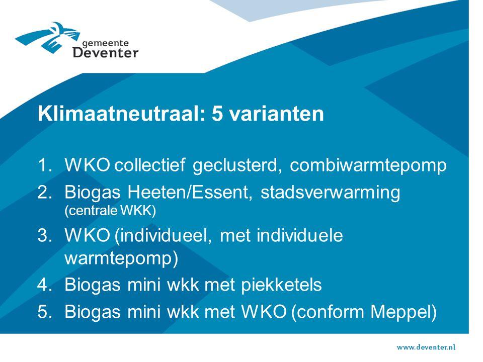 Klimaatneutraal: 5 varianten 1.WKO collectief geclusterd, combiwarmtepomp 2.Biogas Heeten/Essent, stadsverwarming (centrale WKK) 3.WKO (individueel, met individuele warmtepomp) 4.Biogas mini wkk met piekketels 5.Biogas mini wkk met WKO (conform Meppel)