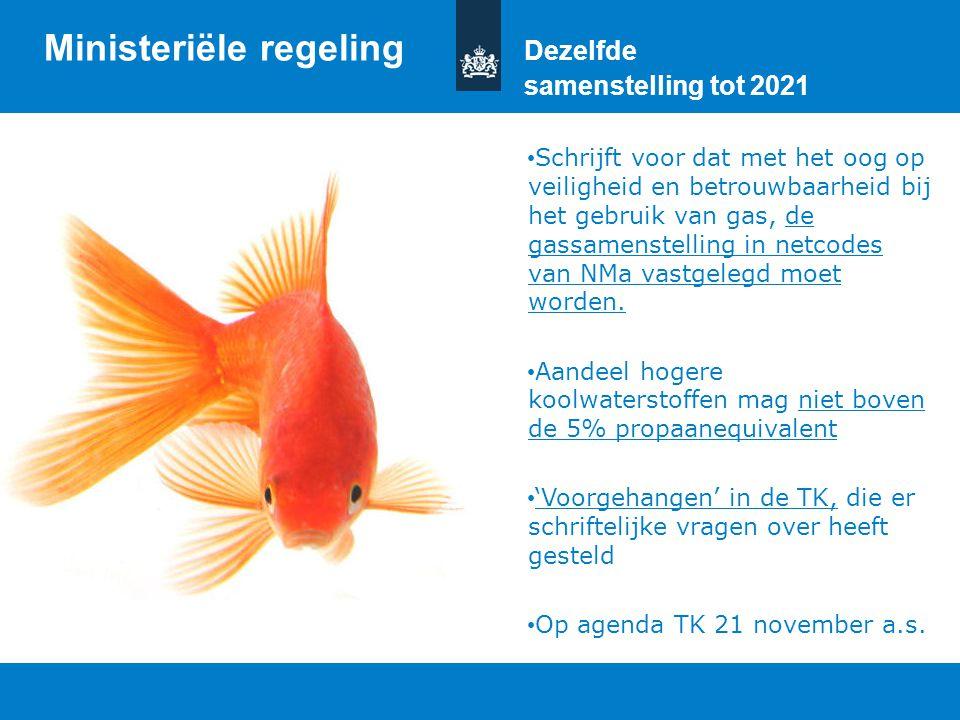 Titel van de presentatie | 20 oktober 2010 Ministerie van Economische Zaken, Landbouw en Innovatie 14 Ministeriële regeling Dezelfde samenstelling tot