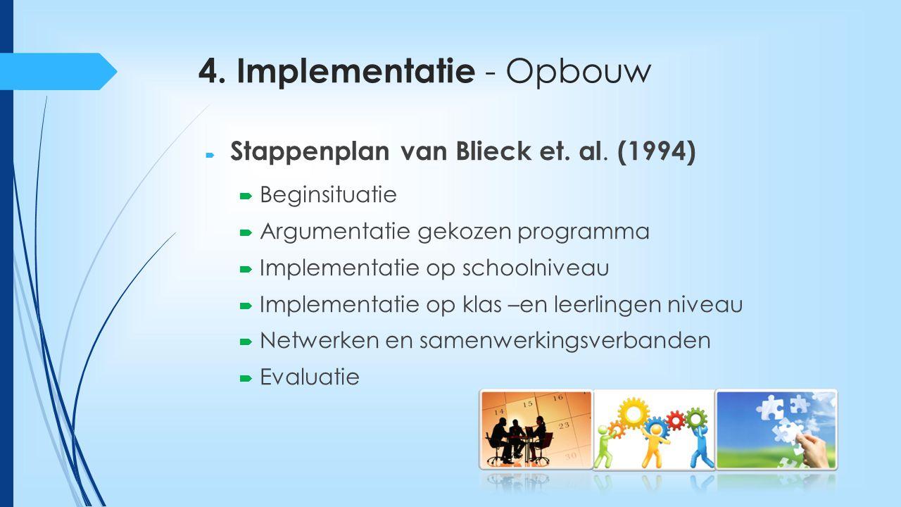 4. Implementatie - Opbouw  Stappenplan van Blieck et. al. (1994)  Beginsituatie  Argumentatie gekozen programma  Implementatie op schoolniveau  I