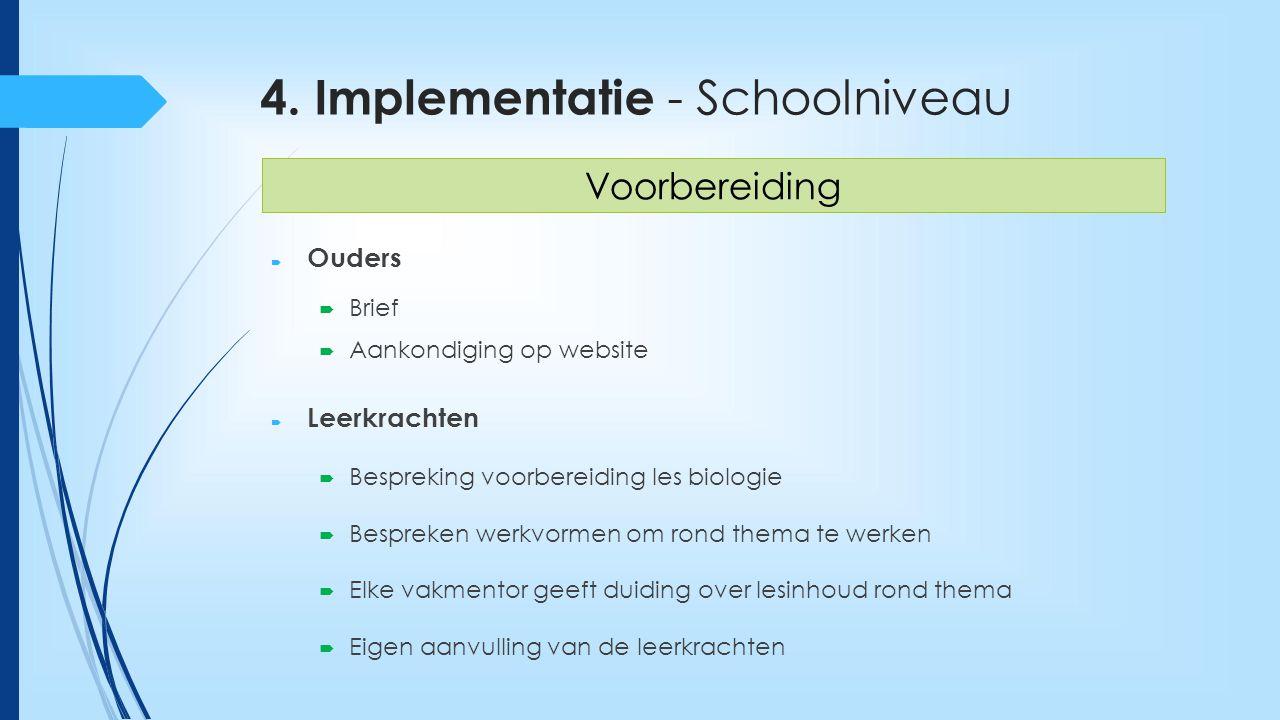 4. Implementatie - Schoolniveau  Ouders  Brief  Aankondiging op website  Leerkrachten  Bespreking voorbereiding les biologie  Bespreken werkvorm