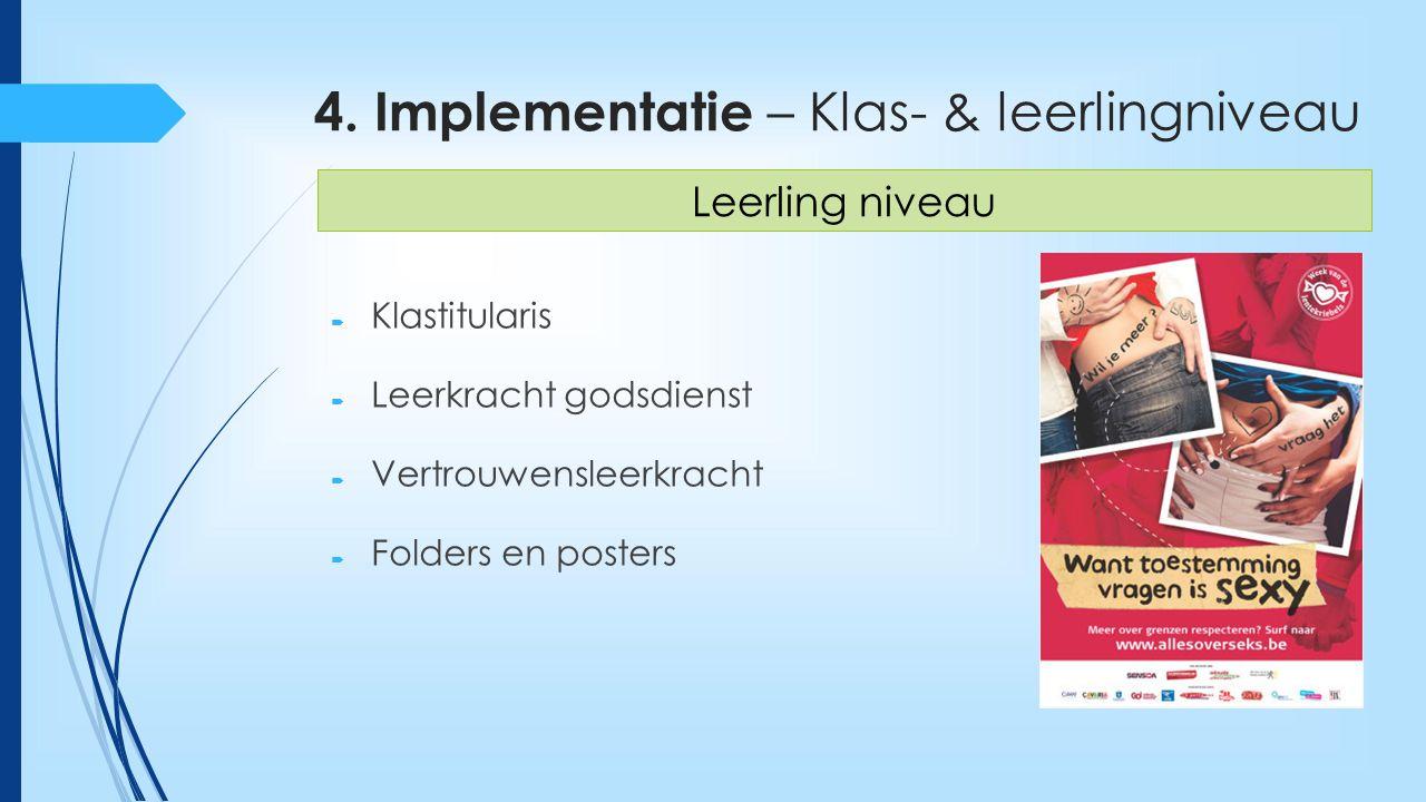 4. Implementatie – Klas- & leerlingniveau  Klastitularis  Leerkracht godsdienst  Vertrouwensleerkracht  Folders en posters Leerling niveau