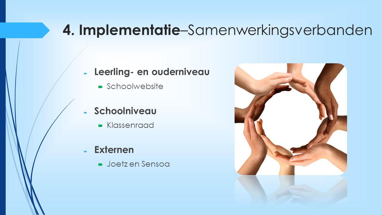 4. Implementatie –Samenwerkingsverbanden  Leerling- en ouderniveau  Schoolwebsite  Schoolniveau  Klassenraad  Externen  Joetz en Sensoa