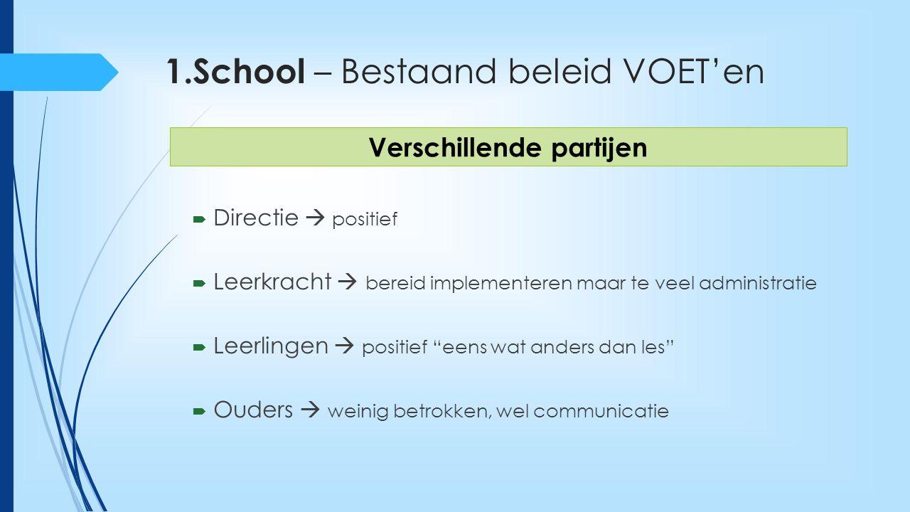 """1.School – Bestaand beleid VOET'en  Directie  positief  Leerkracht  bereid implementeren maar te veel administratie  Leerlingen  positief """"eens"""