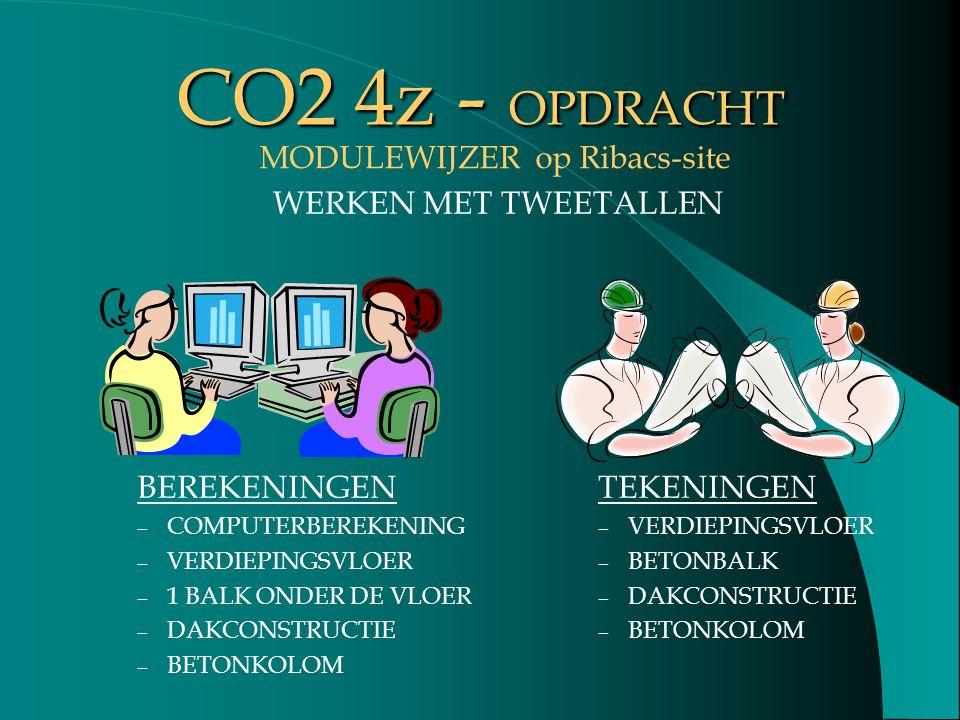 CO2 4z - OPDRACHT BEREKENINGEN – COMPUTERBEREKENING – VERDIEPINGSVLOER – 1 BALK ONDER DE VLOER – DAKCONSTRUCTIE – BETONKOLOM TEKENINGEN – VERDIEPINGSV