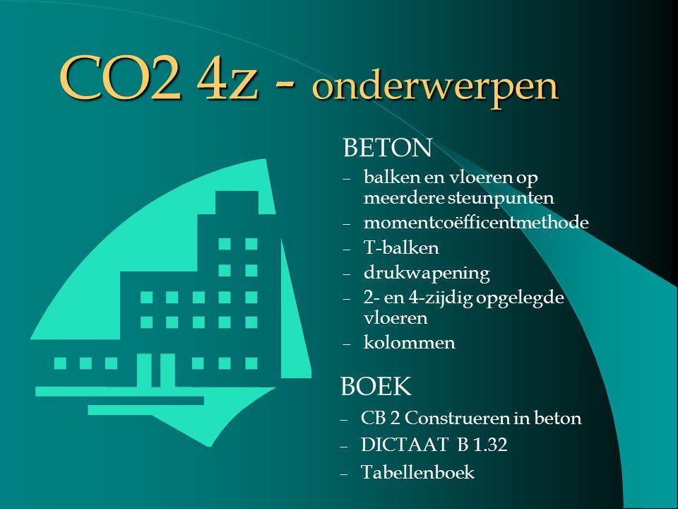 CO2 4z - onderwerpen BETON – balken en vloeren op meerdere steunpunten – momentcoëfficentmethode – T-balken – drukwapening – 2- en 4-zijdig opgelegde