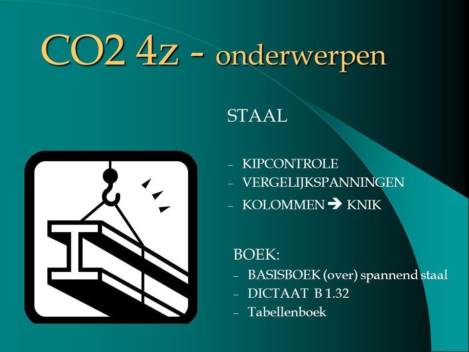 STAAL – KIPCONTROLE – VERGELIJKSPANNINGEN – KOLOMMEN  KNIK BOEK: – BASISBOEK (over) spannend staal – DICTAAT B 1.32 – Tabellenboek CO2 4z - onderwerp