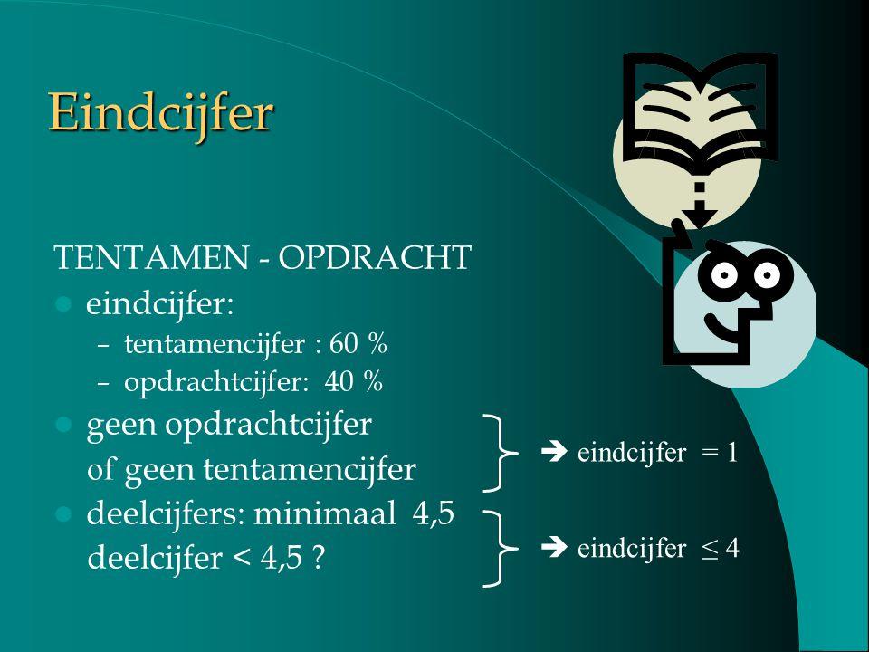 Eindcijfer TENTAMEN - OPDRACHT eindcijfer: – tentamencijfer : 60 % – opdrachtcijfer: 40 % geen opdrachtcijfer of geen tentamencijfer deelcijfers: mini