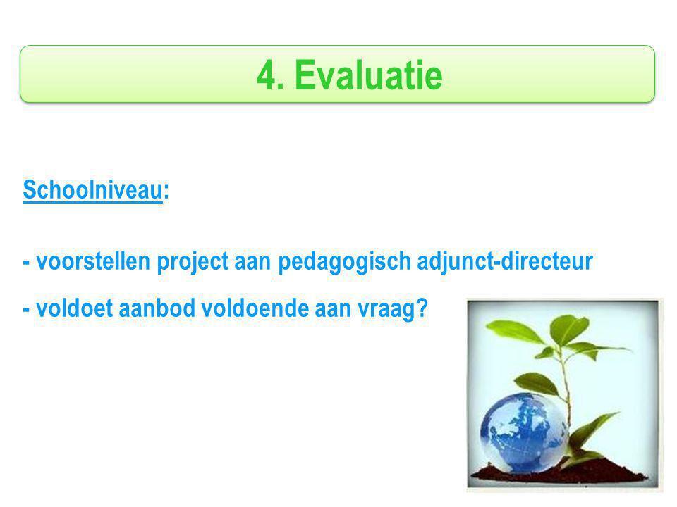 4. Evaluatie Schoolniveau: - voorstellen project aan pedagogisch adjunct-directeur - voldoet aanbod voldoende aan vraag?