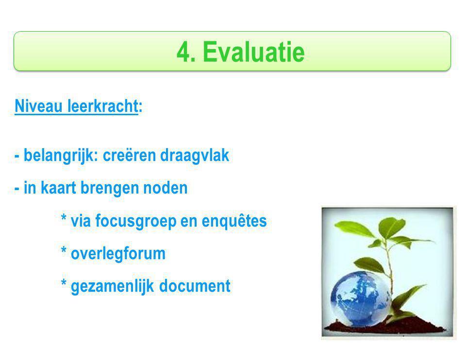 4. Evaluatie Niveau leerkracht: - belangrijk: creëren draagvlak - in kaart brengen noden * via focusgroep en enquêtes * overlegforum * gezamenlijk doc