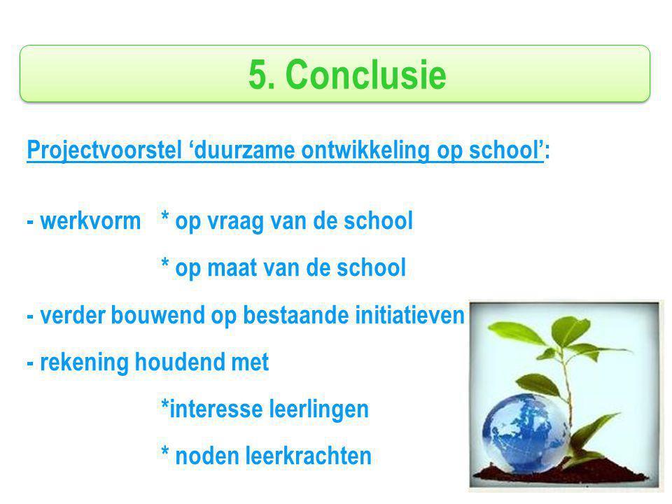 5. Conclusie Projectvoorstel 'duurzame ontwikkeling op school': - werkvorm* op vraag van de school * op maat van de school - verder bouwend op bestaan