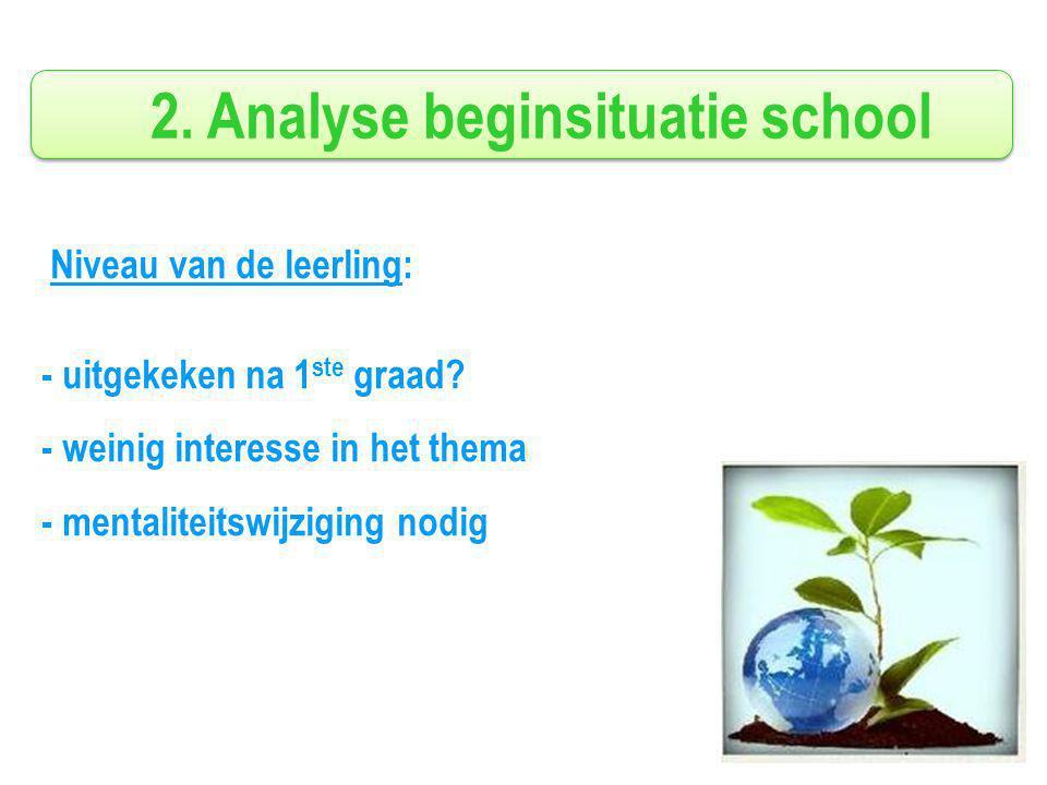 2. Analyse beginsituatie school Niveau van de leerling: - uitgekeken na 1 ste graad.