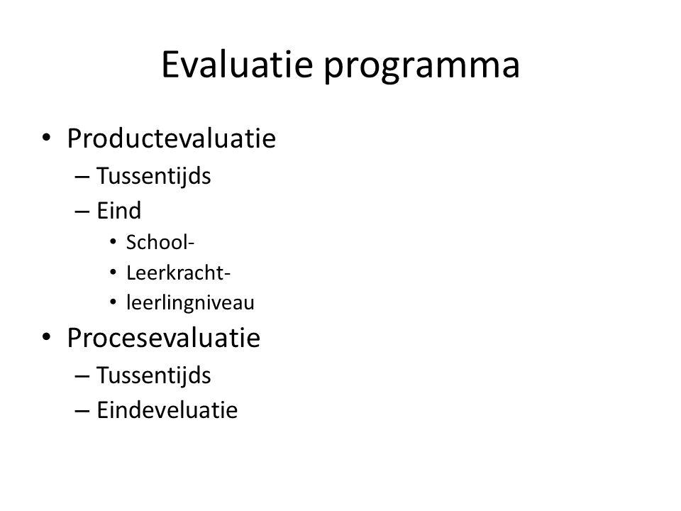 Evaluatie programma Productevaluatie – Tussentijds – Eind School- Leerkracht- leerlingniveau Procesevaluatie – Tussentijds – Eindeveluatie
