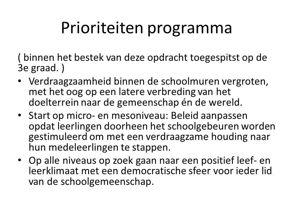 Prioriteiten programma ( binnen het bestek van deze opdracht toegespitst op de 3e graad.