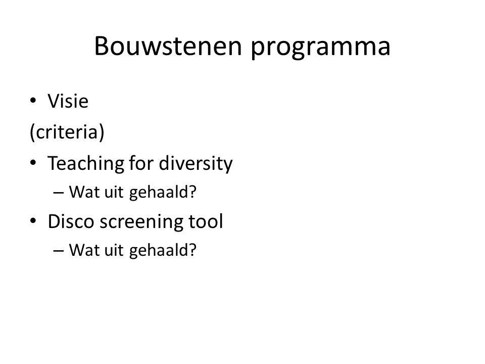 Bouwstenen programma Visie (criteria) Teaching for diversity – Wat uit gehaald.