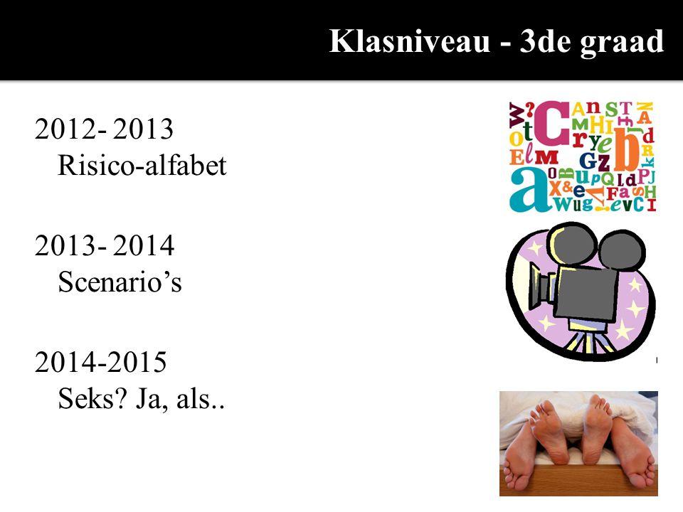 Klasniveau - 3de graad 2012- 2013 Risico-alfabet 2013- 2014 Scenario's 2014-2015 Seks? Ja, als..
