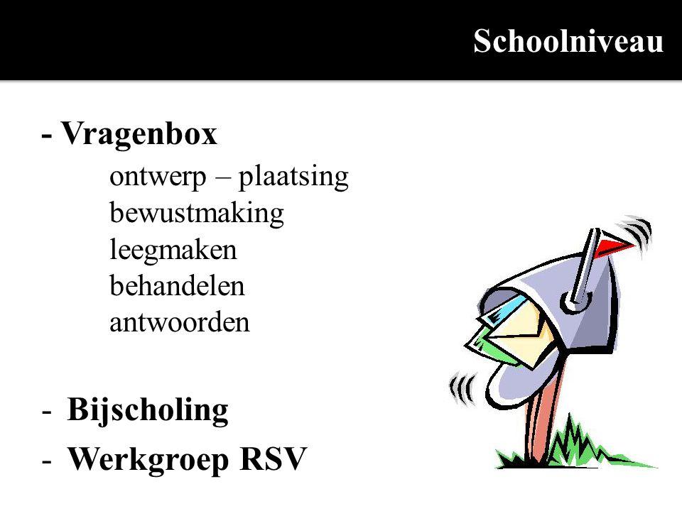 Schoolniveau - Vragenbox ontwerp – plaatsing bewustmaking leegmaken behandelen antwoorden -Bijscholing -Werkgroep RSV
