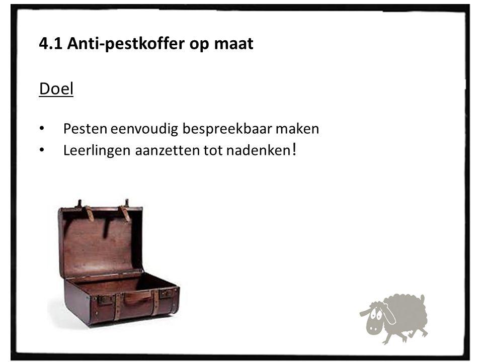4.1 Anti-pestkoffer op maat Doel Pesten eenvoudig bespreekbaar maken Leerlingen aanzetten tot nadenken !