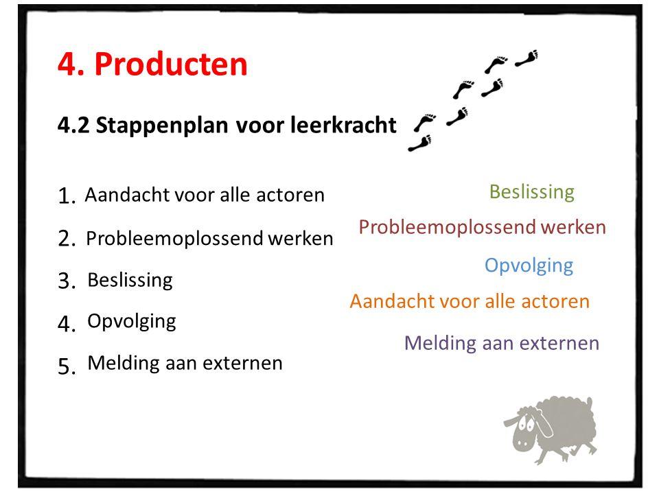 4. Producten 4.2 Stappenplan voor leerkrachten 1. 2. 3. 4. 5. Aandacht voor alle actoren Probleemoplossend werken Beslissing Opvolging Melding aan ext