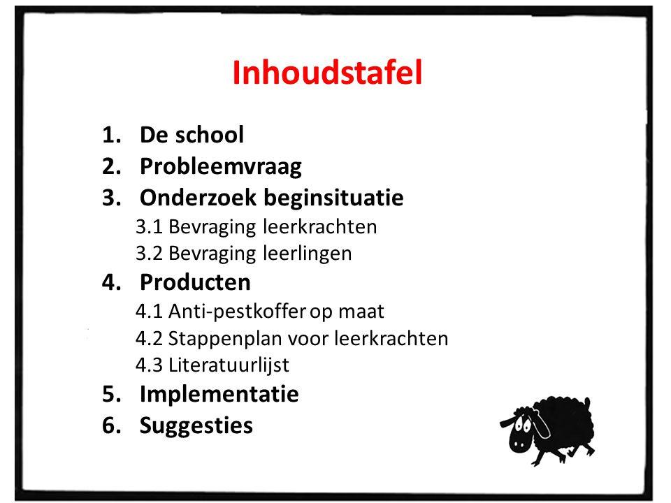 Inhoudstafel 1.De school 2.Probleemvraag 3.Onderzoek beginsituatie 3.1 Bevraging leerkrachten 3.2 Bevraging leerlingen 4.Producten 4.1 Anti-pestkoffer