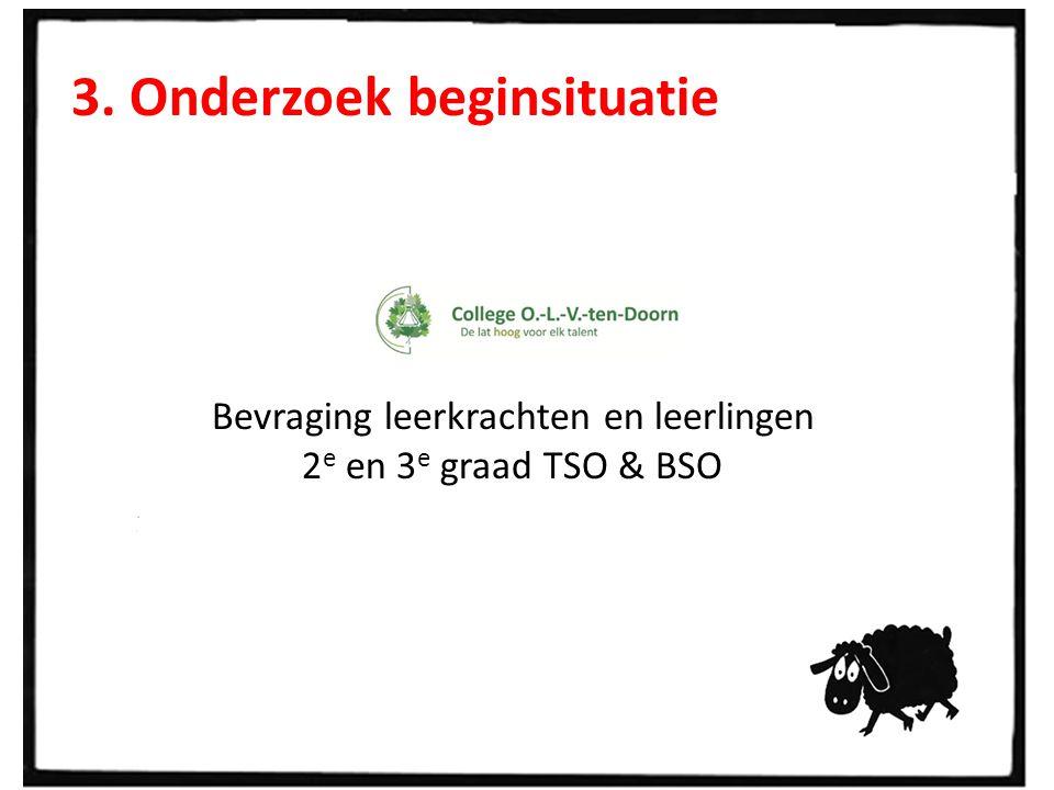 3. Onderzoek beginsituatie Bevraging leerkrachten en leerlingen 2 e en 3 e graad TSO & BSO